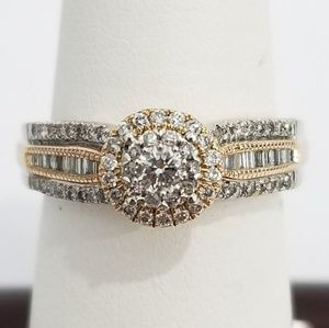 Jewelry - Rose and White Gold Diamond Ladies Engagement Ring